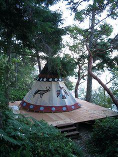 Transforming the tent platform we built a few years ago into a tipi platform. Native American Teepee, Native American Art, Tenda Camping, Teepee Tent, Teepees, Teepee Camping, Tent Platform, Outdoor Fireplace Designs, Teen Bedroom Designs