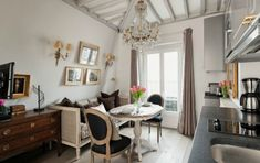 Before & After : Big Changes for a Tiny Paris Apartment #bedroom #dinning room #fireplace #living room