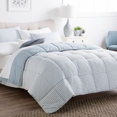 39338411ad2 BROOKSIDE Striped Reversible Chambray Down Alternative Comforter Set