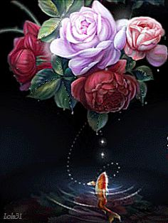 Rose and koi by hiliuyun on DeviantArt All Flowers, Beautiful Flowers, Asian Art, Beautiful Creatures, Animated Gif, Photo Art, Art Photography, Floral Wreath, Bouquet