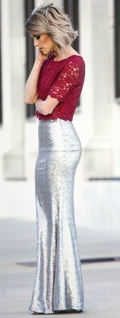 #casual #outfits #spring #style #inspiration | Red lace top + matte silver sequin maxi skirt