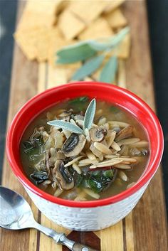 This delicious Healthy Mushroom, Orzo and Swiss Chard Soup is hearty and rich in flavor, but light on calories. 126 calories and 3 Weight Watchers Freestyle SP #vegan