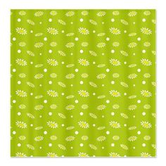 #Shower #Curtain  #Seamless #pattern of #daisies on green background    $54.50