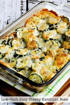 You'll love this Low-Carb Easy Cheesy Zucchini Bake which is most popular zucchini recipe of the Top Ten Low-Carb Zucchini Recipes on Kalyn's Kitchen! Use Zucchini Index to find more recipes like … Cheesy Zucchini Bake, Low Carb Zucchini Recipes, Low Carb Recipes, Cooking Recipes, Healthy Recipes, Baked Zuchinni Recipes, Zucchini Gratin, Zuchinni Bake, Zucchini Squash Casserole