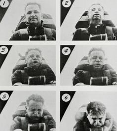 Colonel John Stapp shown in a rocket sled in the first five seconds of acceleration up to 421 mph and then in the initial deceleration of up to 22 Gs, June 1954 High Speed Test, Roller Coaster Ride, Fastest Man, Man Alive, Sled, The Funny, Funny Pictures, Product Launch, Laurence