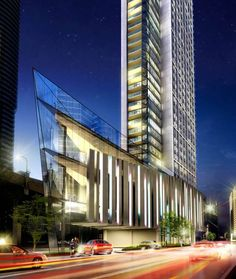 A Tridel image showing a street-level perspective of the prow-shaped Ten York podium. The 69-storey skyscraper was designed by Toronto's Wallman Architects.