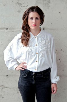 White button up blouse by ejt1977, via Flickr
