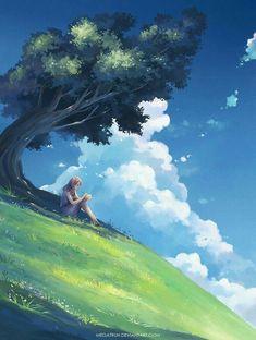 of The Day: megatruh. Under a tree, upon a hill Wonderful whimsical fantasy landscape art Fantasy Landscape, Landscape Art, Fantasy Art, Landscape Paintings, Manga Art, Anime Art, Anime Kunst, Anime Scenery, Amazing Art