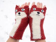 Fox Fingerless Gloves Dark Red  FREE Shipping Worldwide door Pomber