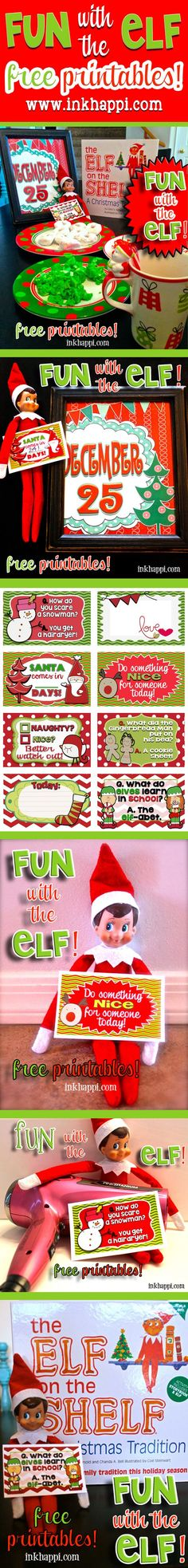 Fun with the Elf. or not Elf. Some great printable cards for the elf or to use as lunchbox notes, tags, whatever you want! Plus some fun ideas! Christmas Activities, Christmas Traditions, Xmas Messages, Christmas Holidays, Christmas Crafts, Christmas Recipes, Elf On The Self, Buddy The Elf, Printable Cards