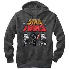 f0465daa0c61 Star Wars Pixel Darth Vader and Stormtroopers Mens Graphic Lightweight  Hoodie Gas Monkey
