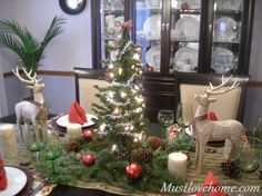 Woodland Christmas tablescape with sparkly tree lights