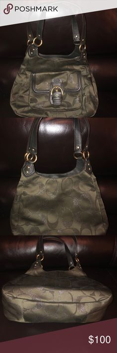 Authentic (see pic) Coach purse, deep green color Deep dark green Authentic Coach purse (see pics for patch) 3 pockets- 2 side pockets and a middle zipper pocket, Coach's typical fabric, C's on purse have a very very subtle glitter Coach Bags Shoulder Bags