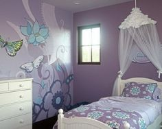 Beautiful Butterflies and Flowers Wall Murals with Cute Bedding Sets in Purple Girls Bedroom Themes Design Ideas