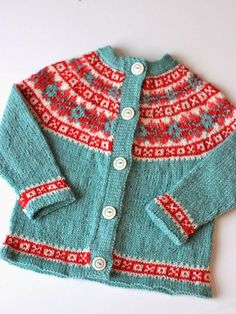 Original Pattern: b16-10 Jacket with raglan sleeves in pattern Knitter Extraordinaire: Hanna (Ravelry ID, blog) Mods: Changed the design of the fair isle d