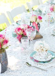 Such a gorgeous table and beautifully photographed! by Tracey Leber Larkspur: Al fresco luncheon Fresco, Informal Weddings, Romantic Table, Brunch, Marquee Wedding, Wedding Reception, Lace Table, Christmas Inspiration, Wedding Inspiration