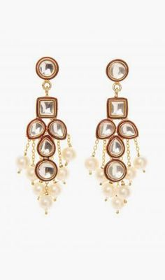 Brass Diamond and Pearl Waterfall Earrings