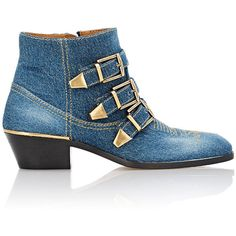 Chloé Women's Suzanna Ankle Boots (4.178.075 COP) ❤ liked on Polyvore featuring shoes, boots, ankle booties, colorless, buckle ankle boots, pointed toe booties, blue boots, blue ankle boots and mid heel booties