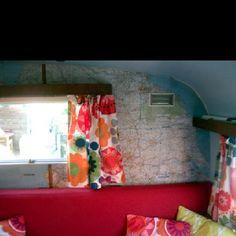 Map walls in a camper. Super fun!