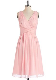 Glorious Guest Dress in Rose - Prom, Wedding, Bridesmaid, Pastel, Chiffon, Woven, Long, Pink, Solid, Ruching, Special Occasion, A-line, Best, V Neck, Sleeveless