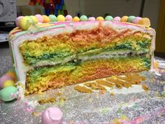 Marble cake, easy to do....just make different colour sponges and put in the baking tray layering them.