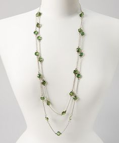 Another great find on #zulily! Silver & Green Circles Necklace #zulilyfinds