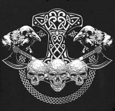 Norse Pagan, Viking Symbols, Viking Art, Viking Runes, Norse Mythology Tattoo, Norse Tattoo, Raven Tattoo, Irish Tattoos, Celtic Tattoos