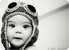 That Hat! That baby! Those eyes! Be still my heart...  Copilot Aviator Hat by Kat Goldin