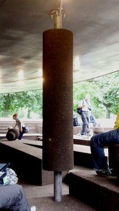 Not a gigantic kebab spit roast!... but a cork column at Serpentine gallery pavilion, London by Ai Weiwei and Herzog & de Meuron
