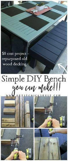 You can make it too!!! Simple DIY Outdoor Bench - artsychicksrule.com