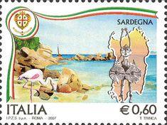 2007 - Regioni d'Italia - Sardegna: una spiaggia incontaminata, un fenicottero rosa e un bronzetto nuragico