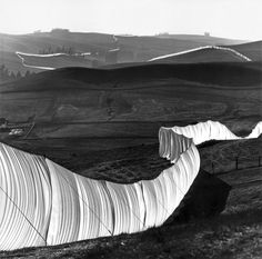 Christo and Jeanne-Claude   Running Fence, Sonoma and Marin Counties, California, 1972-76. Amazing Conceptualists.