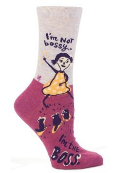 "Fun and funky ultra soft socks by Blue Q. These ""I'm Not Bossy""  are women's crew socks. 1% of Blue Q's sale of these socks benefit Doctors Without Borders. Fit women's shoe size 5-10. Machine wash cold, tumble dry medium heat. I'm Not Bossy by Blue Q. Accessories - Socks Syracuse, New York"