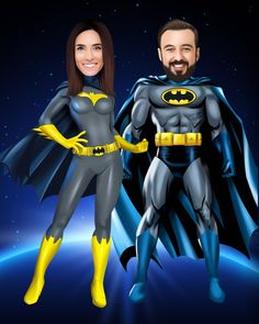 Caricature Gifts, Caricature From Photo, Png Images For Editing, Superman Wonder Woman, Batman Family, Couple Cartoon, Photo Logo, Couple Portraits, Family Gifts