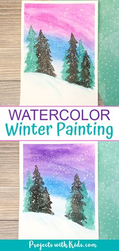 watercolor art This simple winter watercolor art project is stunning and a great painting idea for older kids and tweens! A fun winter project with an easy to tutorial.