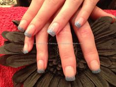 Eye Candy Nails & Training - Gel nails with blue gelish gel polish on tips by Joanne Duckmanton on 15 February 2013 at Really Cute Nails, Pretty Nails, Nail Polish Designs, Gel Polish, Get Nails, Hair And Nails, Gel Nail Extensions, One Stroke Nails, Gelish Nails