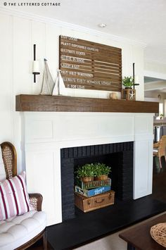 decorating an empty the basket and crates white fireplace