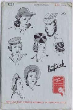 RARE ORIGINAL BUTTERICK Vintage Millinery 4 STY HATS CAP FASCINATOR Pattern 1227