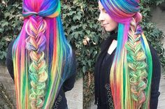 This Woman's Insanely Long Rainbow Hair Is Really Something Else