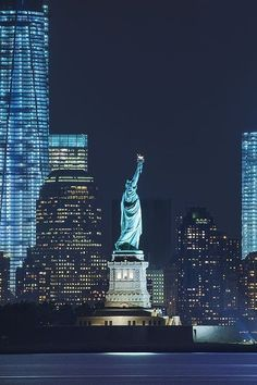 Lady Liberty at night