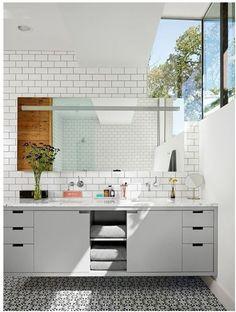 Gray floating vanity-- no handles or pulls!