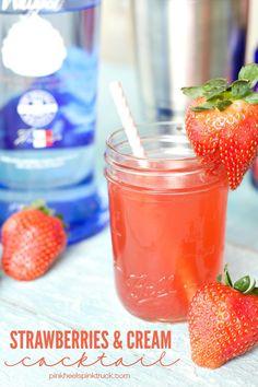 Strawberries and Cream Cocktail | anightowlblog.com