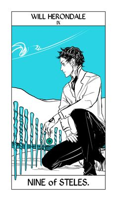 Will as the Nine of Steles from the Shadowhunter Tarot by Cassandra Jean. There's a little Clockwork Princes clue in here too if you look.