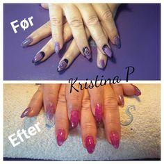 Kristina med en opfyldning i nail art
