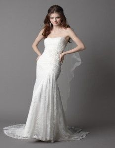 wedding dress lace strapless