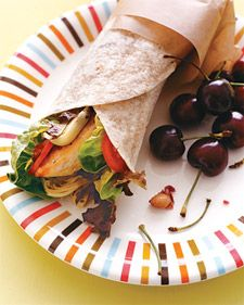 Chicken provides a great source of protein, while the tapenade adds healthy fats. Artichoke hearts and tomato bring fiber to the table. The whole-wheat wrap offers a better carb choice than a white wrap.    Night before: Cook the chicken. The next morning, combine all the ingredients in this sandwich and wrap tightly in wax paper or a cloth napkin for easy transport.