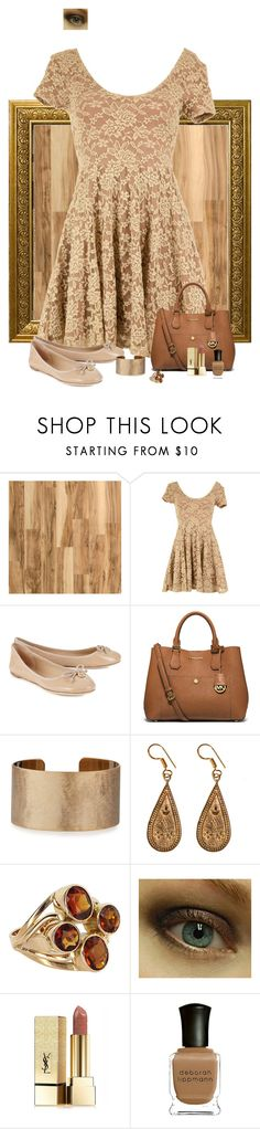 """Golden Glow"" by lghockey ❤ liked on Polyvore featuring Home Decorators Collection, MINKPINK, Tory Burch, MICHAEL Michael Kors, Panacea, Urbiana, Yves Saint Laurent and Deborah Lippmann"