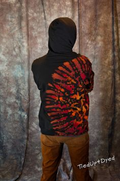 Into the Fire tie dye cotton fleece pullover by TiedUpandDyed
