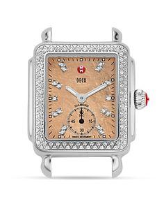 Michele Deco 16 Diamond Metallic Mother-of-Pearl Dial Watch Head, 29 x 31mm