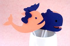 Little Whale Cupcake Toppers  set of 12 by prettypaperparty, $10.00